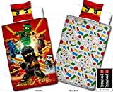 Wende Linon Kinder Bettwäsche Lego Ninjago - Fire - Neu & Ovp - 135 x 200cm + 80 x 80cm - 100% Baumwolle - Cole - Jay - Kai - Lloyd - Zane - Nya - Misako - Sensai Wu - deutsche Größe -