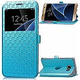 View Etui en PU pour Samsung Galaxy A5 (2016) A510 Smartphone - Yihya Simple Slim [View Window] Flip Folio PU Leather Wallet Case Coque Housse de Protection Portefeuille - Bleu ( Blue )