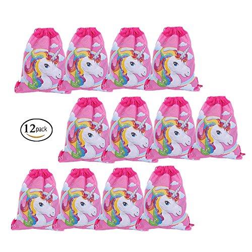 EUGU 12 Pack Cute Unicorn Themen Kordelzugbeutel Party Geschenk Tasche Einhorn Party Supplies 13,5 × 10,6 Zoll