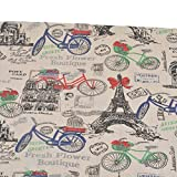 Leinen-Stoff aus Baumwolle Retro Paris in Fahrrad Nägel