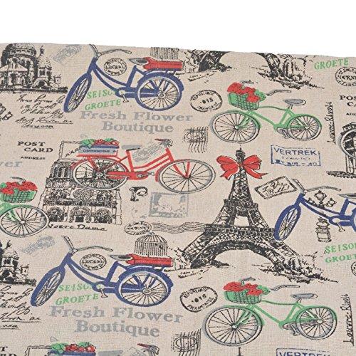 Tissu de coton Retro de lin paris en vélo pour tapisser chaises descalzadoras pour travaux manuels, Couture Coussins Guirlandes caravanes vitrine Rideau 1 m x 50 cm. De Open Buy
