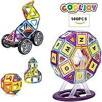 Magnetische Bausteine,101 Stück Magnetische Bauklötze Set Spielzeug Set für Kinder, Autos, Roboter, Raketen, Riesenrad, Perfekte Lernspielzeug für Kinder,Bestes Geburtstagsgeschenk, Weihnachtsgeschen