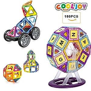 COOLJOY Blocchi Costruzioni Magnetici 3D con Lettera e Numero di Plastica, Giocattolo Educativo e Creativo per i Bambini di oltre 3 anni - 100 Pezzi