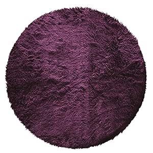 Couleur Montagne, Tappeto rotondo in finta pelliccia, 90 cm, Viola