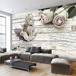 Fotomural 100x70 cm ! Papel tejido-no tejido. Fotomurales - Papel pintado Vintage Angel Rose tablones f-A-0342-a-a