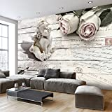 murando - Fototapete 350x256 cm - Vlies Tapete - Moderne Wanddeko - Design Tapete - Wandtapete - Wand Dekoration - Vintage Engel Rose Bretter f-A-0342-a-a