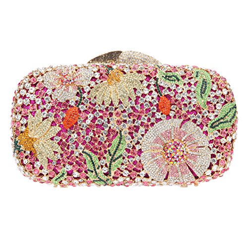 Bonjanvye Bling Studded Flower Evening Purse Cocktail Crystal Evening Clutch Bags Rose Gold Rose