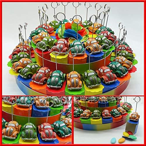 Ingrosso e risparmio torta da 15, 25 e 40 fette colorata in cartoncino con decoro tulle centrale e macchinine 500 portafoto colorate bomboniere compleanno(25 fette senza confetti)