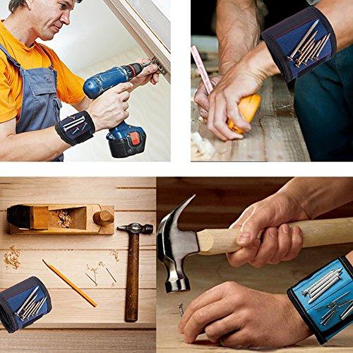 JTENG Magnetische Armbänder, Magnetarmband mit 10 leistungsstarken Magneten Magnet Armbänder verstellbares Klettband zum Halten von Werkzeugen, Schrauben, Nägel, Bohren Bits und Kleinwerkzeuge - 3