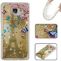 Owbb Coque pour Samsung Galaxy A3 (2016) A310 4.7pouce Ultra Mince Glitter Liquide TPU Silicone Souple Anti-choc Clair Dynamic Etoiles Paillettes Quicksand Design Tour Eiffel Motif