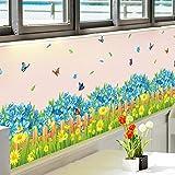 GOUZI Ecke des blauen Blüten umsäumen den Erdungsdraht Gartenzaun, frische kleine blaue Blumen Sockelleisten, abnehmbare Wall Sticker für Schlafzimmer Wohnzimmer Hintergrund Wand Bad Studie Friseur