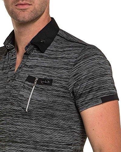 BLZ jeans - Stilvolle gestreiften Polo zip extravaganten schwarzen Mann Schwarz