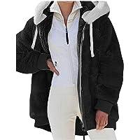 HHWY Giacca con cappuccio da donna, oversize, vintage, per attività all'aperto, in pile, calda imbottitura, per il tempo…