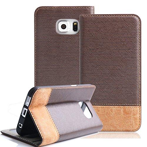 Boriyuan Samsung Galaxy S6 Edge Hülle PU Flip Leder Case Tasche Cover Schutzhülle für Samsung Galaxy S6 Edge Wallet Design mit Fächern für Bankkarte, Displayschutzfolie für Samsung Galaxy S6 Edge inklusive (Dunkelbraun)