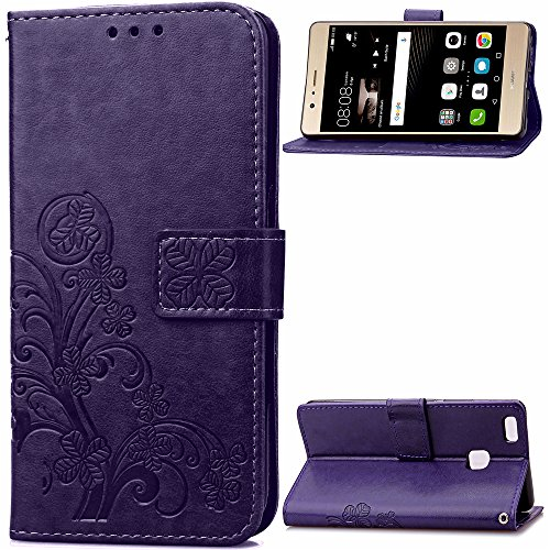 Price comparison product image Huawei P9 Leather Case,Huawei P9 Stand Wallet Case Cover,Yica Folio Flip Wallet Cover Case with Card Slot and Stand Function for Huawei Ascend P9 Purple
