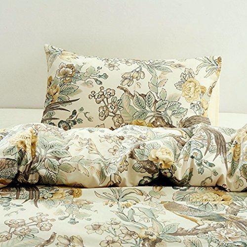Chinoiserie Chic Pfau floral Bettbezug PARADISE Garden Botanical Vogel und Baum Zweige Vintage stilisierten langstapelige Baumwolle 3-teiliges Bettwäsche-Set, baumwolle, gelb, Twin -