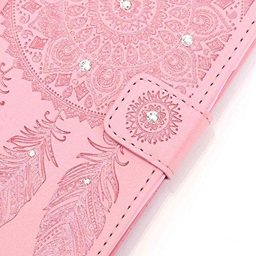 Briller Cristal Strass iPhone 7 Plus Coque, étui Apple iPhone 7 Plus 5.5 pouce Noir, Rabat Style Cuir Case Portefeuille Case Carte Titulaire Colorisé Cordon Windbell Motif Rose