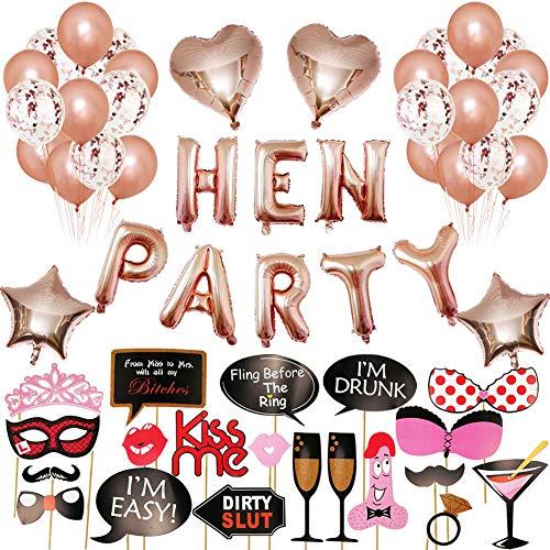 Xiangmall 62 PCS Junggesellinnenabschied Dekoration Set Rose Gold Party Deko Luftballons JGA, 10 PCS Konfetti Luftballons, 20 PCS Latex Ballons, 20 PCS Foto Requisiten, 4 PCS Folienballon