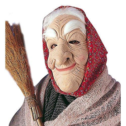 NET TOYS Hexenmaske Oma Maske Hexengesicht Omamaske Hexen Maske Gesicht Alte Frau Hexe Verkleidung Kostüm Zubehör (Frau Maske Alte)