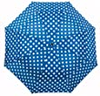 Windproof Resistant Very Strong Open & Close Folding Vented Umbrella - Blue Polka Dot.