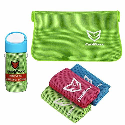 CoolFoxx Instant Cooling Handtuch, Relief Breathable Natürliche Hypoallergene Polyester Mikrofasern Bandana Schal Sweat Handtuch für Yoga Golf Zumba Gym Travel Camping Wandern, 39 * 12 Zoll (grün)