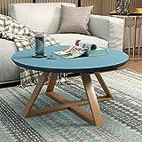 WU Teetisch, Rundes Schlafzimmer, Kleiner Couchtisch, Einfaches Wohnzimmer, Kreativer Massivholz-Beistelltisch, Kleiner Runder Kleiner Schreibtisch,Blau,60Cm / 23.4In