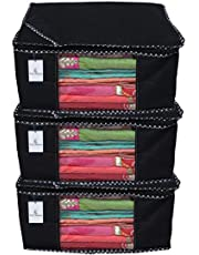 Kuber Industries™ Non Woven Saree Cover/Saree Bag/Storage Bag Set of 3 Pcs (Black) 9 Inches Height & 90 GSM Fabric (NWC01)