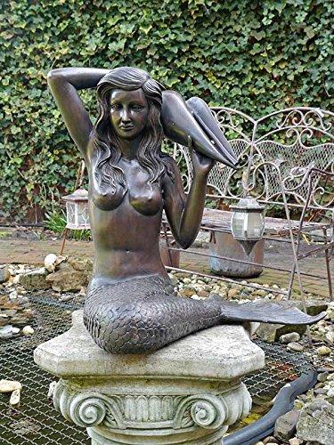 Antike Fundgrube Wasserspeier Wasserspiel Bronze Figur Meerjungfrau für den Garten H: 48cm (6638)