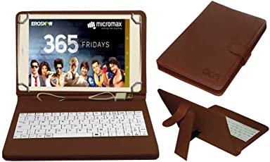 Acm Usb Keyboard Case for Micromax Canvas Plex Tab Tablet Cover Stand With Free Micro Usb Otg - Brown