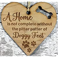 Crazy Dog Lady - Engraved Wooden Dog Lover Hanging Plaque Decoration Gift Idea For Dogs Lovers Friends Couple Men Women Her Him Family Boyfriend Xmas Gift Idea