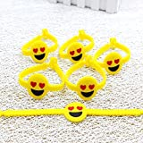 Bodhi2000® 12 Pack Emoji Design PVC Rubber Wristband Bracelets for Birthday Party Supplies Favors Prize Rewards