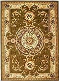 Carpeto Teppich Klassisch Orientalisch Muster 3D-Effekt Konturenschnitt Meliert in Grün Kreis, Sehr Dicht Gewebt, ÖKO Tex (160 x 220 cm)