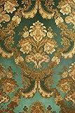 Vinyltapete Tapete Barock Retro # grün/gold # Fujia Decoration # 22832