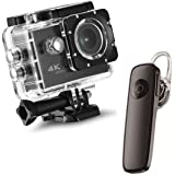 Drumstone {*Water-Sport Special*} 4K 16MP WiFi Waterproof Sports Action Camera and Smart Mini Bluetooth Headphone V4.1…