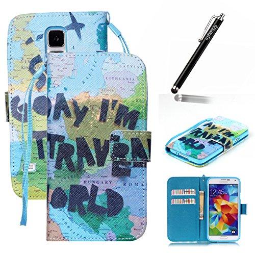 Copertura per Samsung Galaxy S5 in pelle, Samsung Galaxy S5 Custodia Portafoglio, S5 Case Cover, Ukayfe blue Wave-this iphone is locked Design dellunità di elaborazione di vibrazione del cuoio di pro blu-Mappa del viaggiare per il mondo