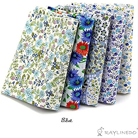5X diverso patrón de luz azul 100% Quarter Bundle popelín de algodón Tela Grasa 46 x 56 cm (aprox 18
