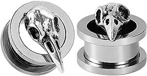 Those 2pcs Stainless Steel Tunnel Bird Skull Ear Plugs Tunnel Expander Gauges Piercing Expander Large Gauges 6mm-25mm