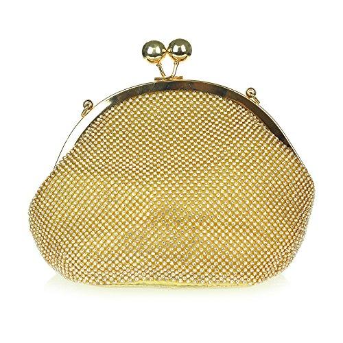 Frau Damen Kristall Abend Hochzeit Braut Party Abschlussball Diamant Handtasche Unterarmtasche Gold