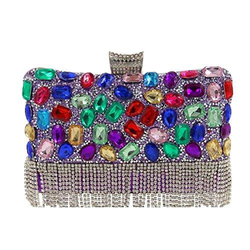 Borsa Da Sera Da Donna Di Alta Qualità Con Diamante Di Cristallo Borsa Viola