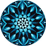 Grund m2673-045001126 Erkenntnis - Mandala Runde Durchmesser 100 cm, Badteppich, Kunstfaser, Türkis, 100 x 15 x 1, 8 cm