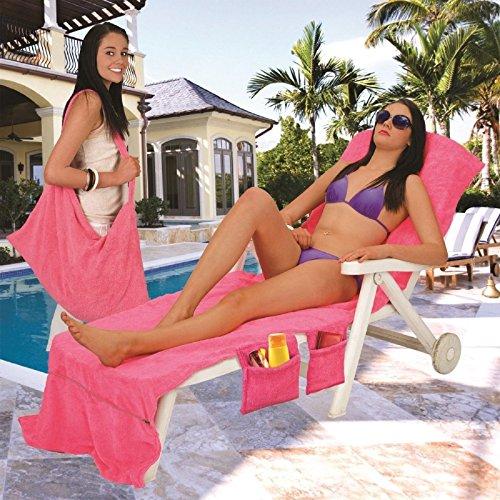 Liege Mate Strand Handtuch Sonnenliege für Urlaub Garten Lounge mit Taschen Hellblau Pink