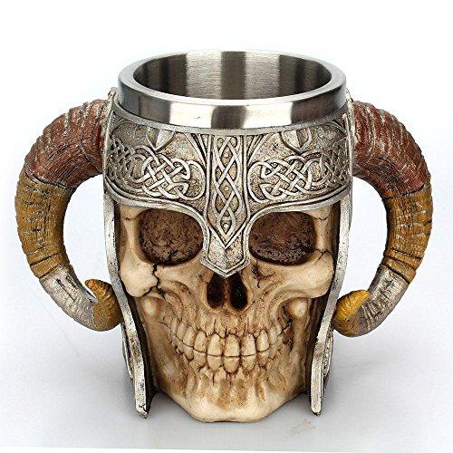 AUOKER Taza del cráneo, Taza de Cerveza de Acero Inoxidable Guerreros Vikingos Taza del cráneo del Cuerno de la manija Doble Cráneo, Taza del cráneo del Acero Inoxidable 3D - 15oz