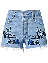 Shorts Femme Broderie 3D Stereo Flowers Whisker Retro Bohemia Taille Haute Stretch Denim Pantalon Loisirs Jeans