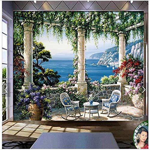 Vista Hirsch (XZDXR Custom Wall Mural 3D Villa Villa Vista Esszimmer Wohnzimmer Schlafzimmer Dekoration, 250X175Cm)