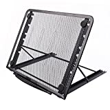 Laptop Stand, Metal Mesh Ventilated Adjustable Art Monitor Stand, 24x19CM/9.45x7.48Inch (Black)