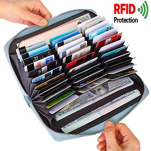ALAIX Portafoglio in pelle da donna Portafoglio in pelle RFID che blocca Multi Passport Cards Organizer Portafoglio ad alta capacità per le donne Blu