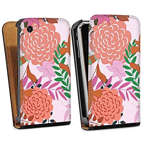 Apple iPhone 6 Housse Étui Silicone Coque Protection Fleurs Fleurs Motif Sac Downflip noir