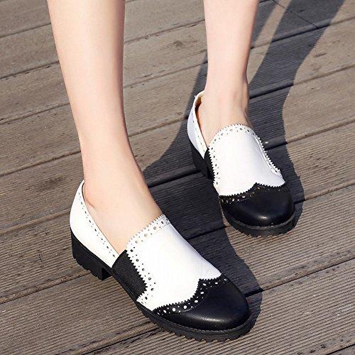 Mee Shoes Damen bequem mit Borte chunky heels Pumps Weiß