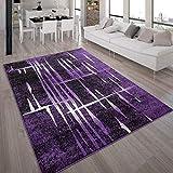 Paco Home Designer Teppich Modern Trendiger Kurzflor Teppich in Lila Schwarz Creme Meliert, Grösse:160x220 cm