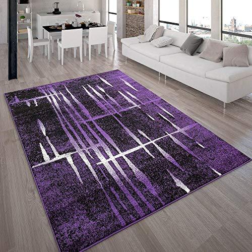 Paco Home Designer Teppich Modern Trendiger Kurzflor Teppich in Lila Schwarz Creme Meliert, Grösse:160x220 cm - Schwarz Und Teppich Lila